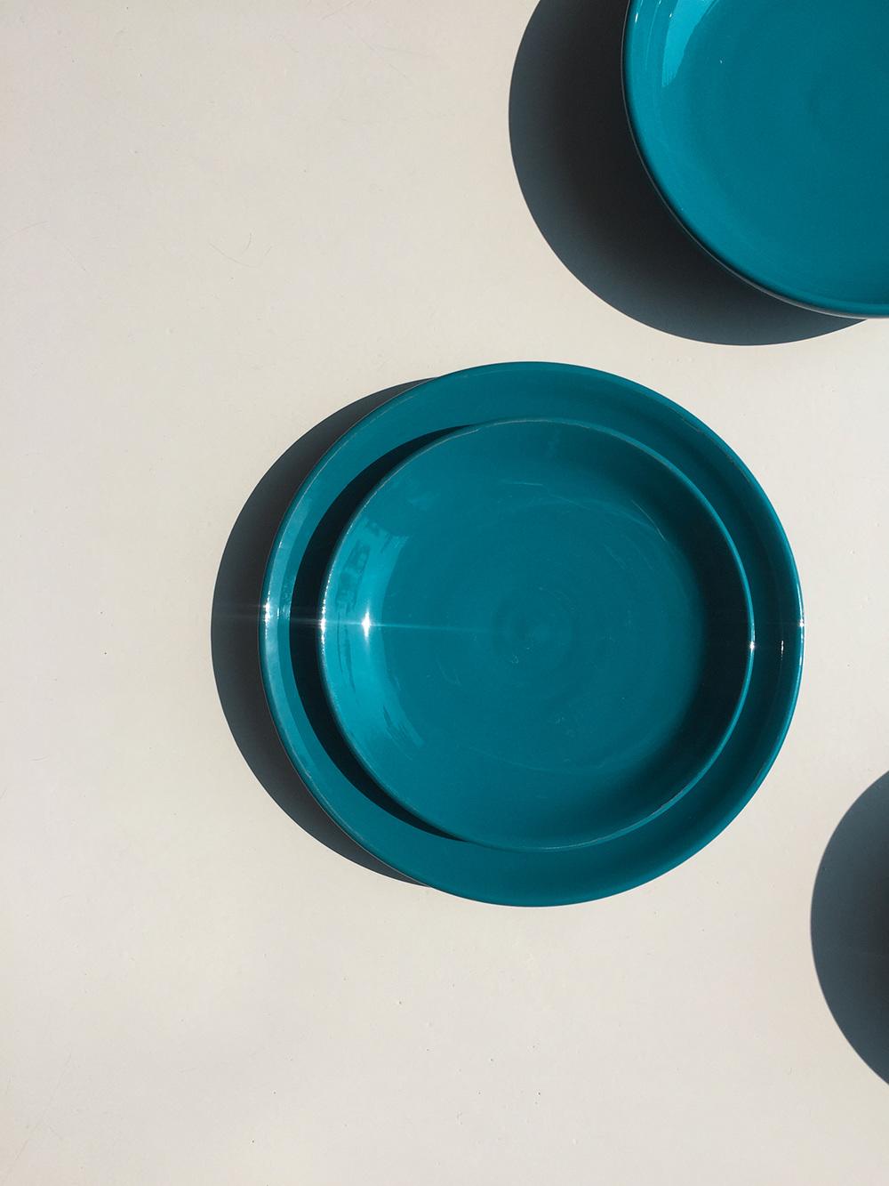 & Ceramics: Earth Collection Petrol Blue Plates - irisroth.com
