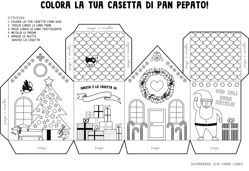 Gingerbread House Coloring Pages And Template For The Swedish Christmas Market In Milan Here You Can Download High Res Pdf File Of